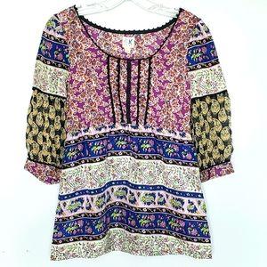 Edme & Esyllte mixed print silk peasant blouse 2